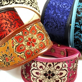 Leather Collars decorated with brocade